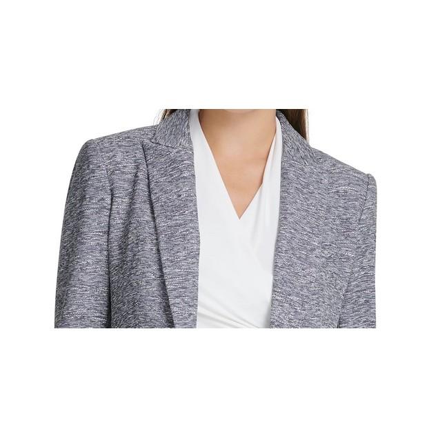 DKNY Women's Marled One-Button Blazer Blue Size 2