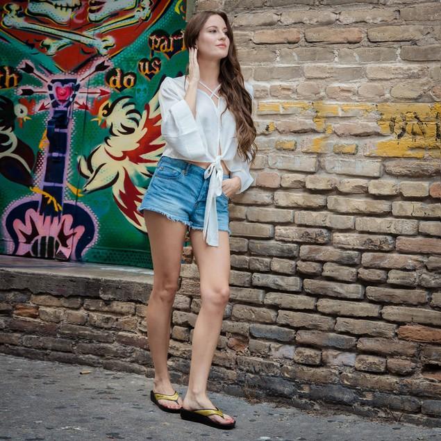 AEROSOFT Women's Arch Support Glitter Thong Sandals