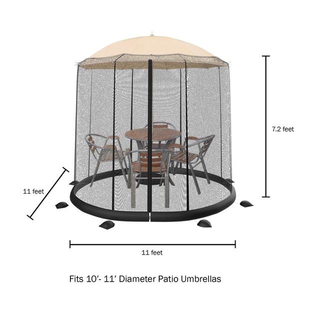 Patio Umbrella Mosquito Net-Bug Screen for 10-11ft. Patio Table Umbrellas