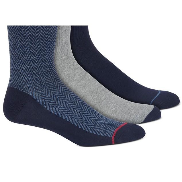 Perry Ellis Men's 3-Pk Printed Socks Gray Size 7-12