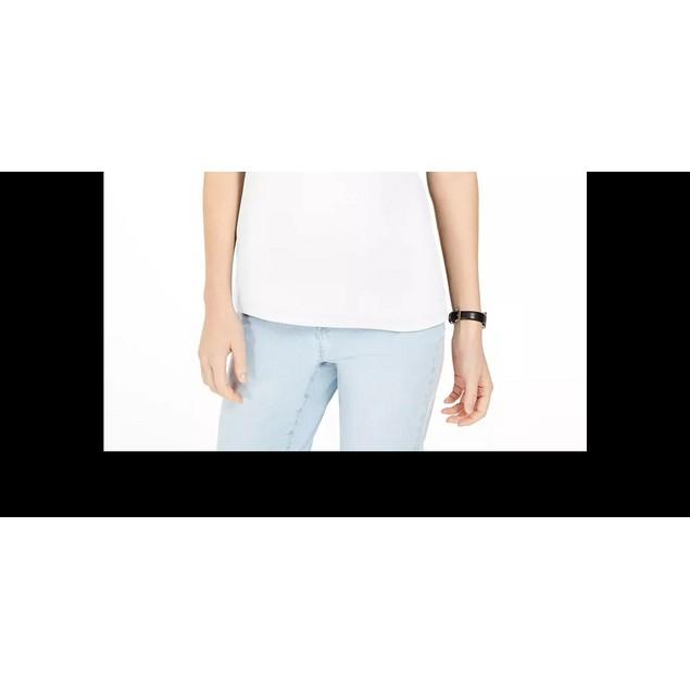 Karen Scott Women's Triple-Ring Cutout Top White Size Small