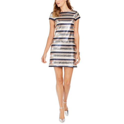 Vince Camtuo Women's Sequined Striped Bodycon Dress Blue Size 8