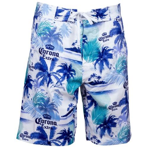 Corona Extra Beer Blue Palms White Board Shorts