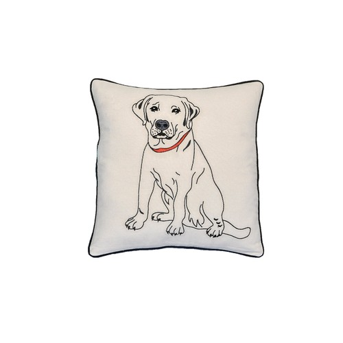 "Labrador Dog Portrait Printed Design Novelty White Cotton Pillow 15""x15"""