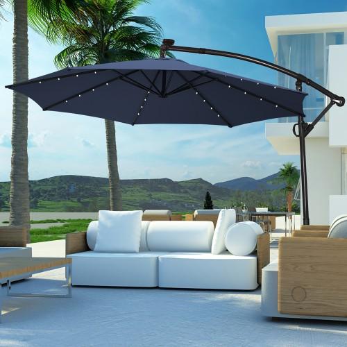 Costway 10FT Patio Offset Umbrella Solar Powered LED 360Degree Rotation Alu