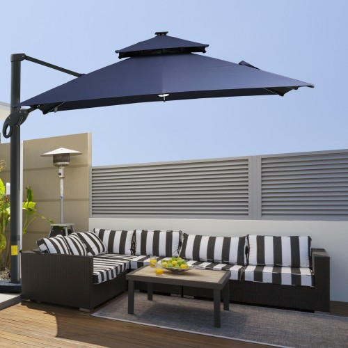 10 FT Aluminum Sun Square Canopy Top with Adjustable Pole Angle Dark Blue