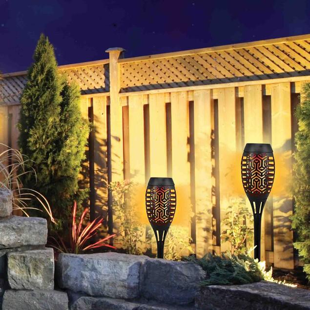 2 Pack: 15 Inch Solar Flicker Flame Pathway Light Zen Garden Series