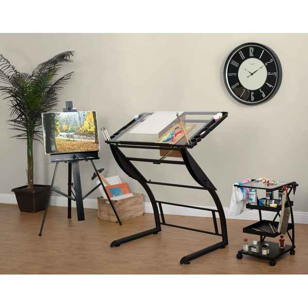 Studio Designs Triflex Drawing Table - Charcoal/Clear Glass