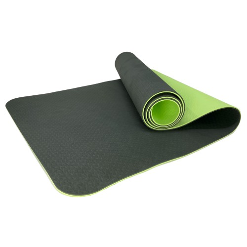 Eco Friendly Reversible Color Yoga Mat with Carrying Strap for Yoga, Pilates, and Floor Exercises