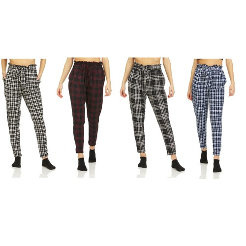 4-Pack Women's Super Soft Tie Waist Lounge Pants
