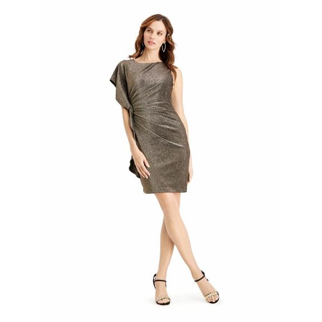 Vince Camuto Women's Metallic Asymmetrical Bodycon Dress Gold Size 8