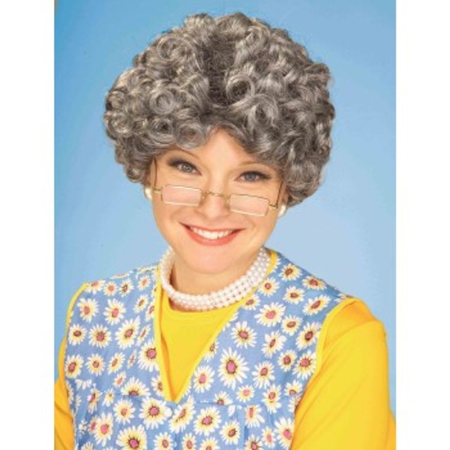 Yo Mamma Wig Mrs. Claus Grandma Old Lady Santa Mom Grey Curly Hair Granny