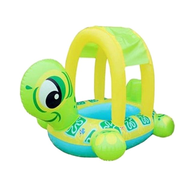 Inflatable Turtle Pool Float with Sun Shade for Kids
