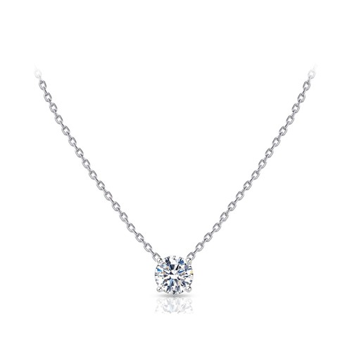 18kt White Gold Plated Danity Round Cut Solitaire Necklace