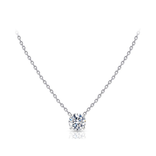 18KT WHITE GOLD DAINTY ROUND CUT SOLITAIRE NECKLACE