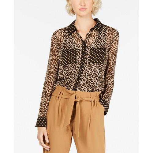 Inc Women's Leopard Dot Button-Up Shirt Gold Size Large