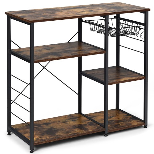 Costway Industrial Kitchen Baker's Rack Microwave Stand Utility Storage She