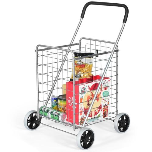 Folding Deluxe Utility Cart with Oversized Basket