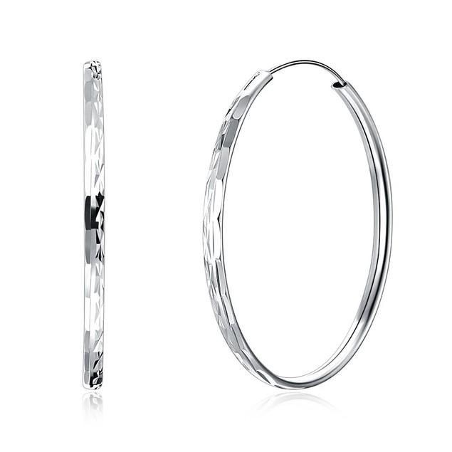 925 Sterling Silver Diamond-Cut 40mm Large Endless Hoop Earrings