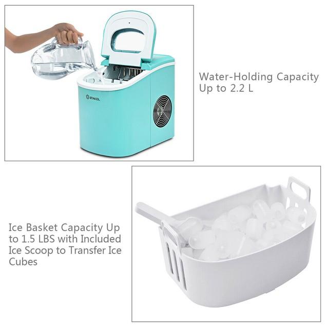 Stakol Portable Compact Electric Ice Maker Machine Mini Cube 26lb/Day Mint