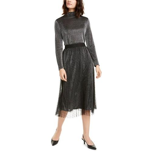Alfani Women's Swiss-Dot Metallic Midi Skirt Dark Gray Size Petite Small
