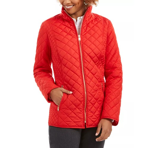 Charter Club Women's Quilted Jacket Red Size Medium
