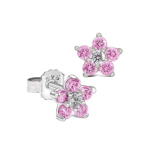 Sterling Silver Pink & Clear Flower Cubic Zircon Kid Post Earring