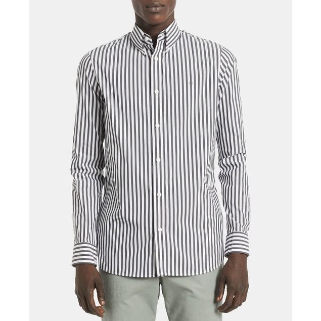 Calvin Klein Men's Striped Stretch Cotton Shirt Black Size Large