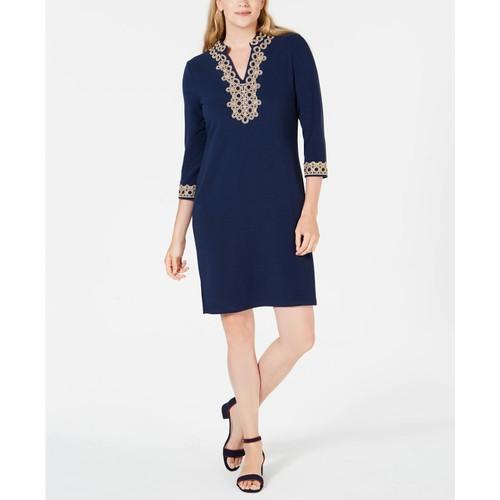 Charter Club Women's Braided-Trim Shift Dress Blue Size Extra Small