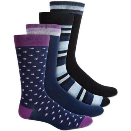 Bar III Men's 4-Pk. Printed Socks Purple Size Regular