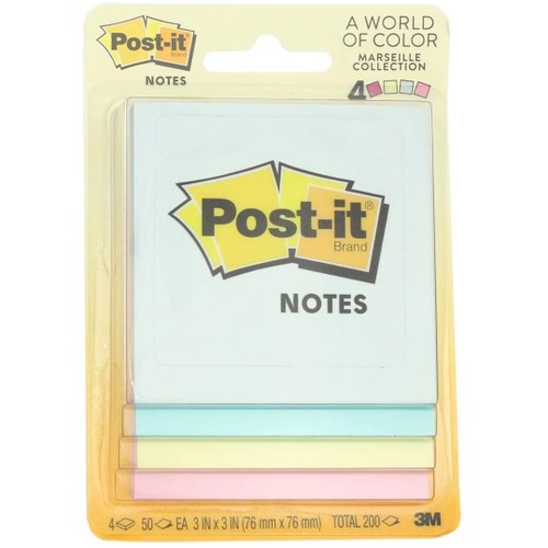 "Post-it 3"" x 3"" Unique Securely and Remove Cleanly Sticky Notes, Multicolor"