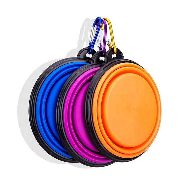 3-Pack Collapsible Travel Water Bowl with Carabiner for Pets