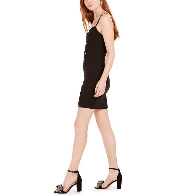 Trixxi Juniors' Crystal Button Scuba Slip Dress Black Size 3