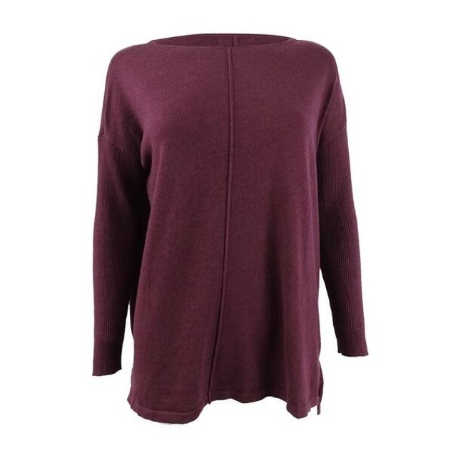 Style & Co Women's Seam-Front Tunic Sweater Med Purple Size XX-Large