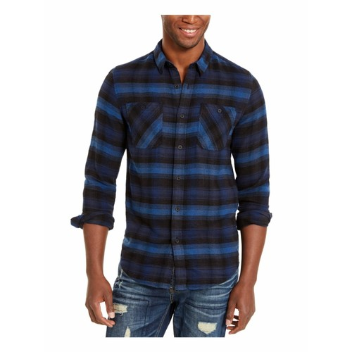 American Ran Men's Plaid Collared Shirt Classic Size Large