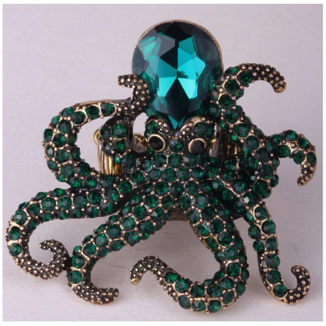 Octopus Stretch Ring Antique Gold Green Color Fashion Scarf