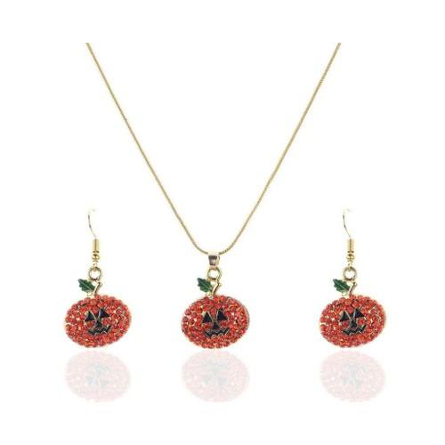 Novadab Autumn Expressive Pumpkin Rhinestone Statement Necklace