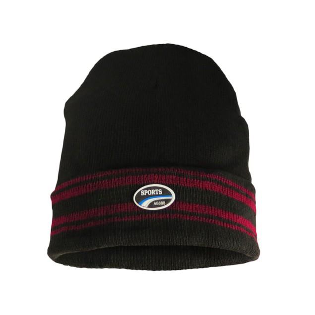 4-Pack Men's Thermal Fleece Lined Baggy Fold Over Black Winter Hat