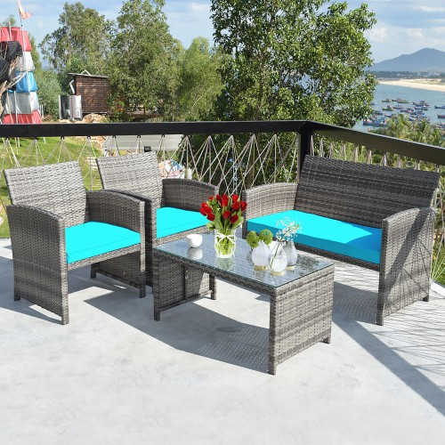 Costway 4PCS Patio Rattan Conversation Furniture Set