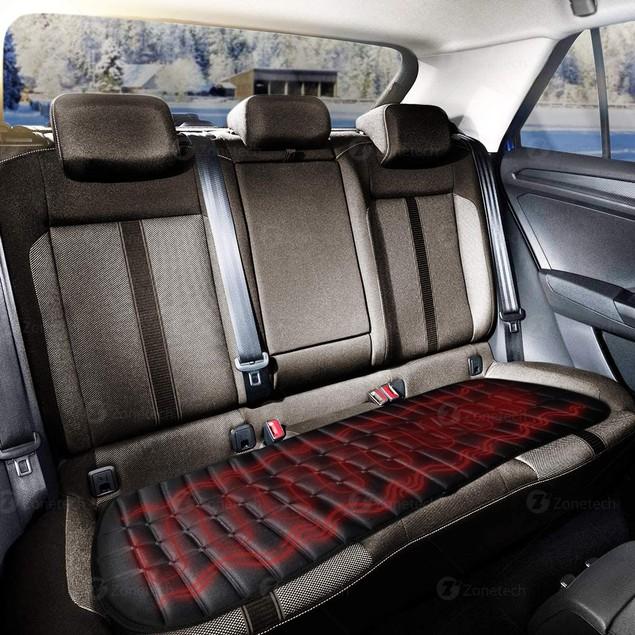 Zone Tech Car Rear Seat Heated Cushion  Cover 12V Heating Pad 45 Min Timer
