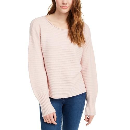 Pink Rose Juniors' Ribbed Sweater Pink Size Medium
