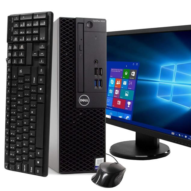 """Dell 3050 Desktop Intel i5 8GB 240GB SSD Windows 10 Professional 19"""" Monito"""