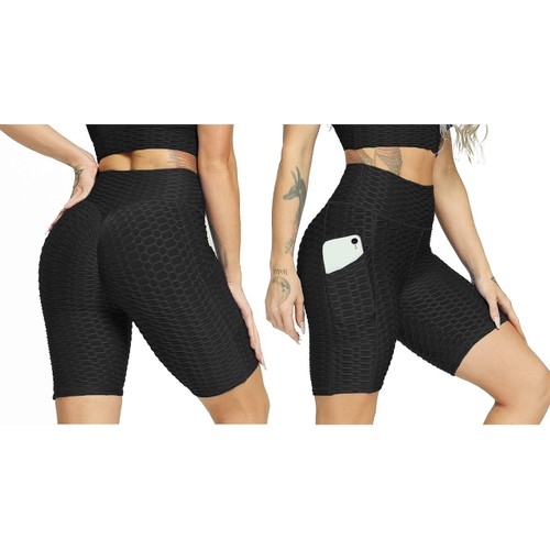 Haute Edition Women's Booty Lift Solid Color Biker Short with Pockets