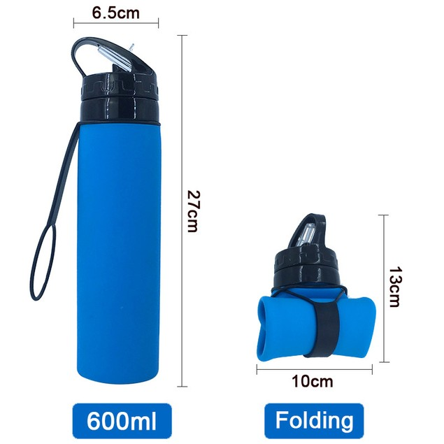 Outdoor Sports Bottle Silicone Foldable Water Bottle Travel 600ml