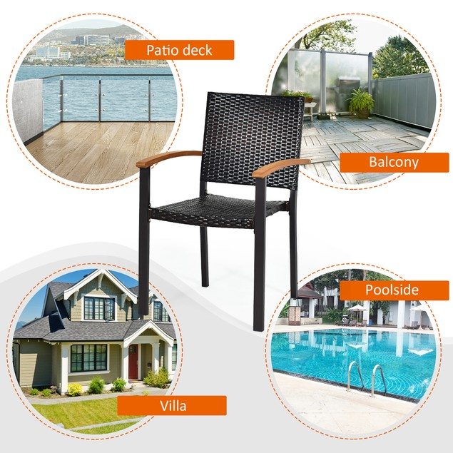 Costway Set of 4 Outdoor Patio PE Rattan Dining Chairs Armrest Stackable Ga
