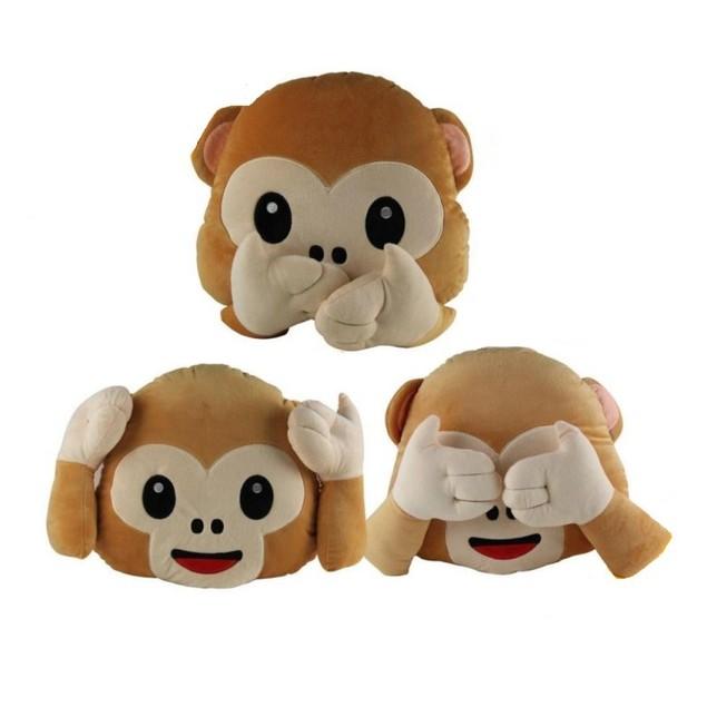 Monkey Emoji Pillows - Hear No Evil, See No Evil, Speak No Evil