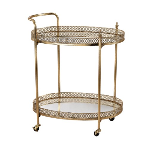 Sterling Home Office Indoor Decorative Banded Oval Bar Cart