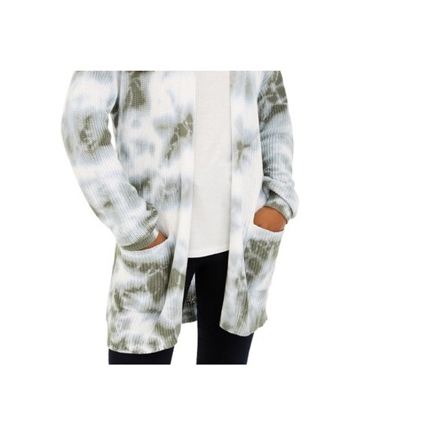 Hooked Up By Iot Juniors' Tie-Dyed Cardigan White Size Small