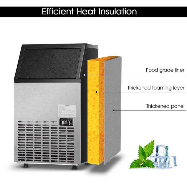 Built-In Stainless Steel Commercial 110Lbs/24H Ice Maker Portable Ice Machi
