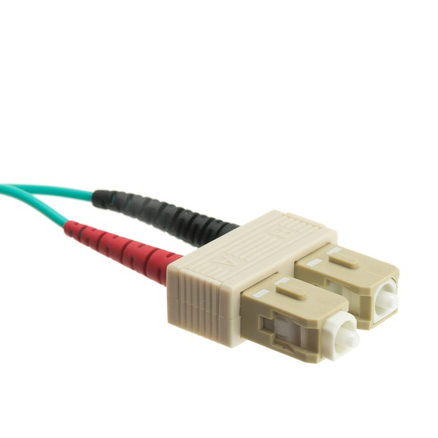 10 Gigabit Aqua Fiber Optic Cable, LC / SC, Multimode, (10 foot)